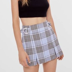 NWT Bershka Blue Plaid Skort